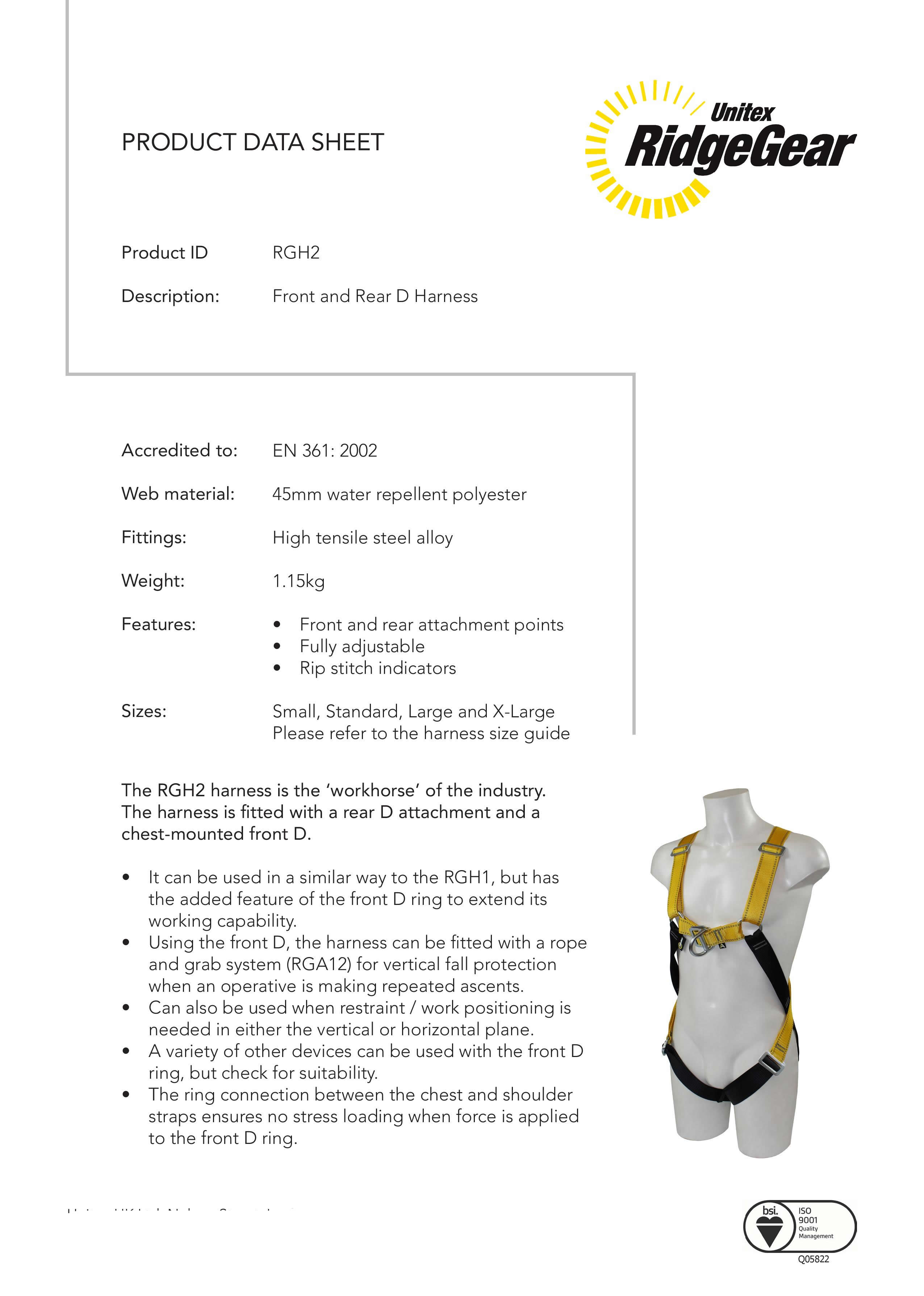 Scaffolders Twin Leg Safety Harness Kit Rghk4 By Ridgegear Technical Spec Download Specification