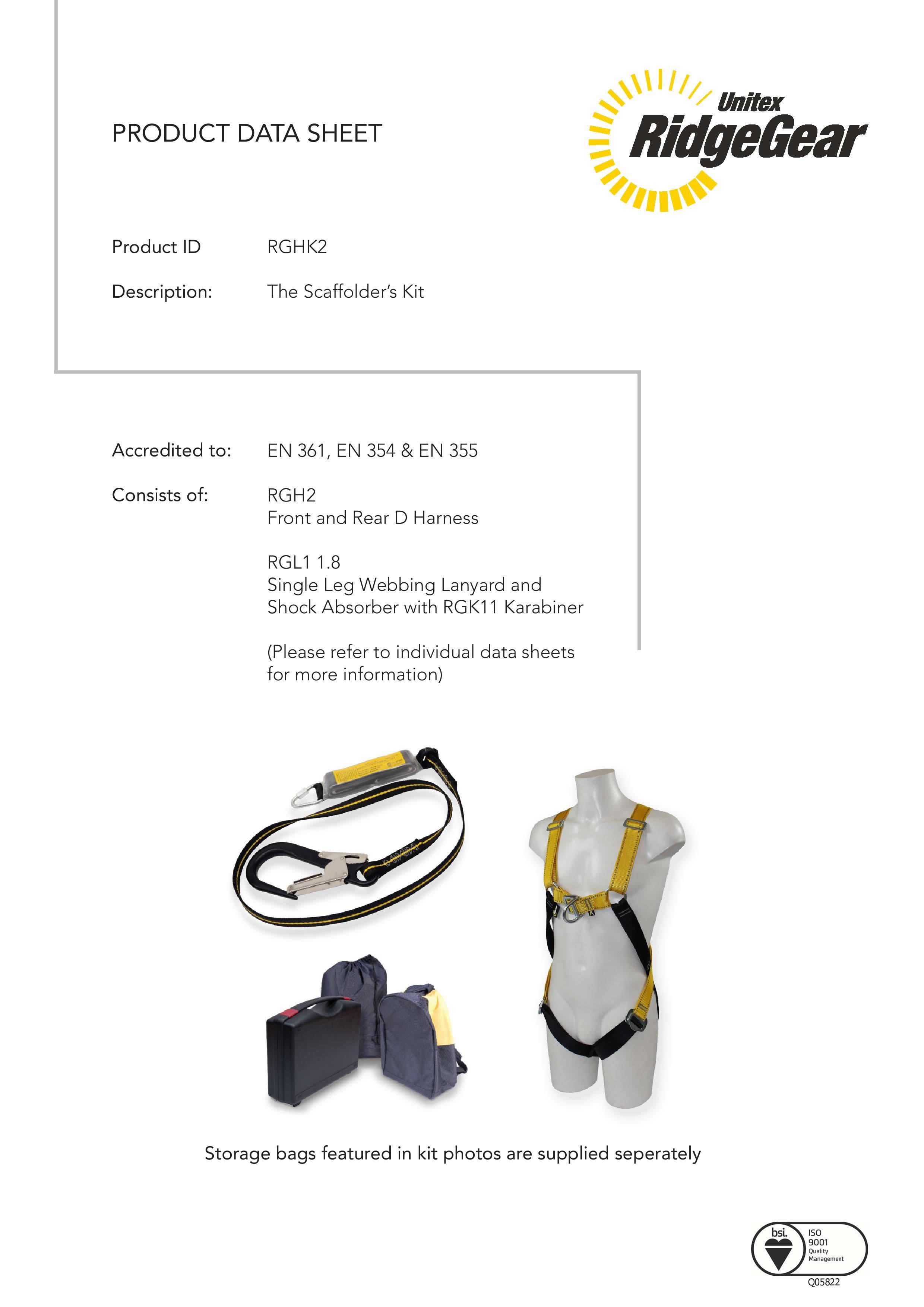 scaffolder u0026 39 s safety harness kit rghk2 by ridgegear